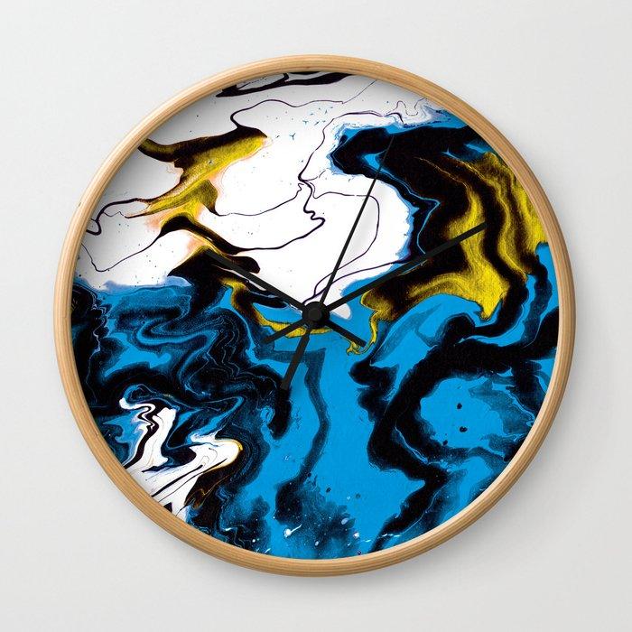 Dreamscape 01 in Blue, White & Gold Wall Clock