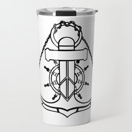Anchor and Steering Helm [Outline] Travel Mug