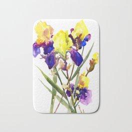 Garden Irises Floral Artwork Yellow Purple Blue Floral design Bath Mat
