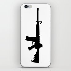 AR15 in black silhouette on white iPhone & iPod Skin