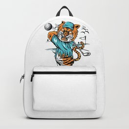 Tiger golfer WITH cap Backpack