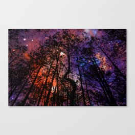 Black Twisted Tree Orange Blue Purple Space Canvas Print