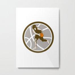 Basketball Player Dribbling Ball Circle Retro Metal Print