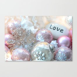 Romantic Shabby Chic Holiday Christmas Ornaments Love Print and Home Decor Canvas Print