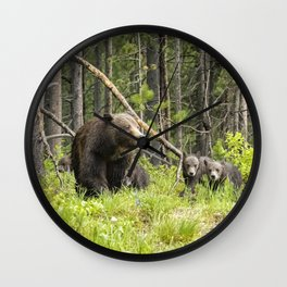 Charting the Course - Grizzly 399 with Her Four Cubs Wall Clock