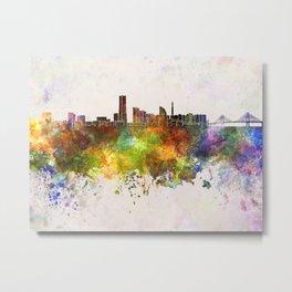Yokohama skyline in watercolor background Metal Print