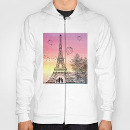 Colorful Eiffle Tower Background Hoody