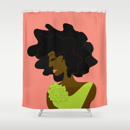 The Lady in Green Shower Curtain