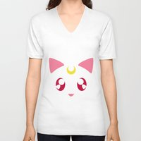 luna V-neck T-shirts featuring Luna by discojellyfish