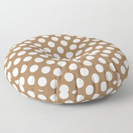 Brown and white polka dots Floor Pillow