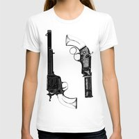 guns T-shirts featuring Two Guns by Broenner