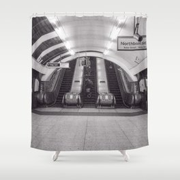 London Underground in black and white Shower Curtain