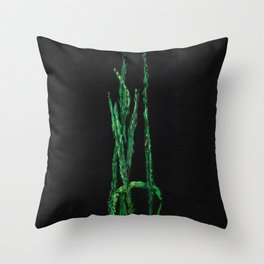 Plantain, green & black Throw Pillow