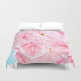 Soft Blue Sky with Pink Peonies Duvet Cover