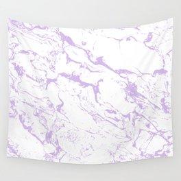 Modern trendy white pastel purple lavender marble pattern Wall Tapestry