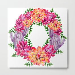 I Love Cactus Wreath Metal Print