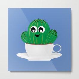 Cactus Coffee Time Metal Print