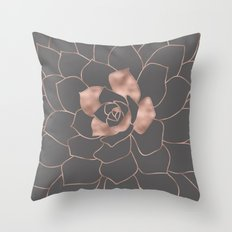 Rosegold  blossom on grey - Pink metal-effect flower Throw Pillow