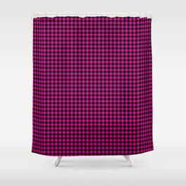 Small Shocking Hot Pink Valentine Pink and Black Buffalo Check Plaid Shower Curtain