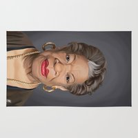 celebrity Area & Throw Rugs featuring Celebrity Sunday ~ Maya Angelou by rob art | illustration