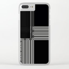 Multiple Black White Geometric Patterns Clear iPhone Case