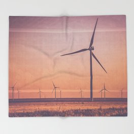 Southwest Windmills Route 66 Throw Blanket