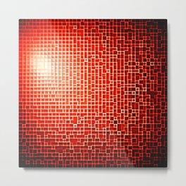 Red Space Pixels Metal Print