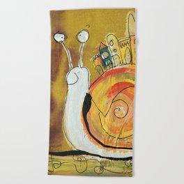 Happy Snail Beach Towel