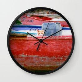 Cat on Boat Wall Clock