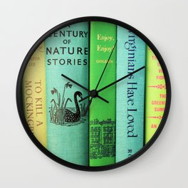 Blue & Green Vintage Book Spines Wall Clock