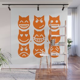 The 9 Lives of the Emoji Cat Wall Mural