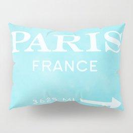blue watercolor paris France Pillow Sham