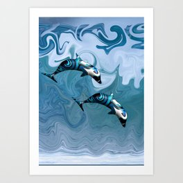 Dolphins Playing in the Waves Art Print