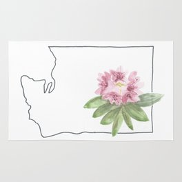 washington // watercolor rhododendron state flower map Rug