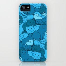 Purrrfect Pattern (Blue) iPhone Case