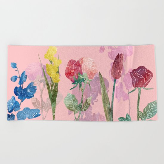 Flowers Four Pink Beach Towel