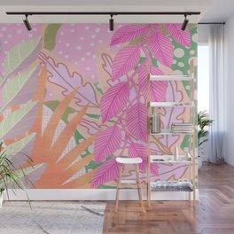 Modern Jungle Plants - Pink Green Purple Wall Mural