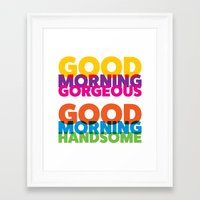 solid color Framed Art Prints featuring Good Morning Solid Color by Pick Up Milk OLD