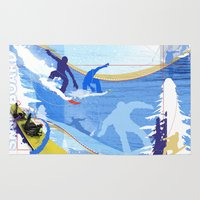 snowboarding Area & Throw Rugs featuring Snowboarding by Robin Curtiss