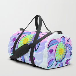 Sea Turtle and Sun Abstract Glitch Ultraviolet Symbol Duffle Bag