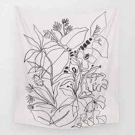 Charcoal Tropics Wall Tapestry