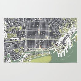 Buenos aires city map engraving Rug