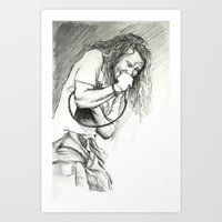 eddie vedder Art Prints featuring Eddie Vedder Sketch by Taylor Hayes