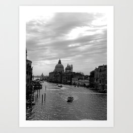 Venice Grand canal in black and white Art Print