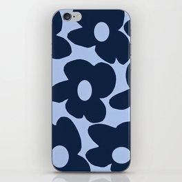 Large Dark Blue Retro Flowers Baby Blue Background #decor #society6 #buyart iPhone Skin