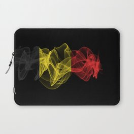 BelgiumSmoke Flag on Black Background, Belgium flag Laptop Sleeve