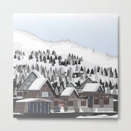 The Snow Village Shirakawa-go Metal Print