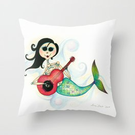 Sirenita Cucurumbe - Dia de los Muertos - Mermaid Throw Pillow
