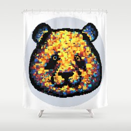 Colorful panda (grey background) Shower Curtain