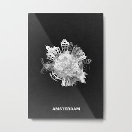 Amsterdam, The Netherlands Black and White Skyround / Skyline Watercolor Painting (Inverted Version) Metal Print